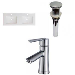 American Imaginations Xena 48-in Enamel Glaze Fire clay Double sink Bathroom Vanity Top  - Chrome hardware
