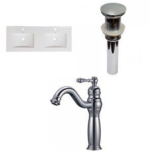 American Imaginations Xena Enamel Glaze Fire clay Double sink Bathroom Vanity Top (59-in)  - Chrome hardware