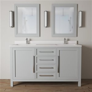 Urban Woodcraft Forest Made 63-in Grey Double Sink Bathroom Vanity with White Quartz Top (Mirror Included)