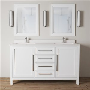 Urban Woodcraft Forest Made 63-in White Double Sink Bathroom Vanity with White Quartz Top (Mirror Included)