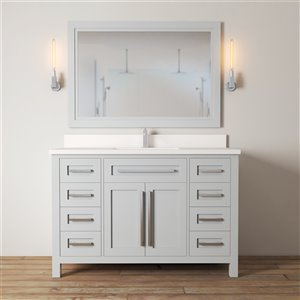 Urban Woodcraft Forest Made 48-in Grey Single Sink Bathroom Vanity with Quartz Top (Mirror Included)