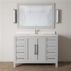 Urban Woodcraft Forest Made 48-in Grey Single Sink Bathroom Vanity with White Quartz Top (Mirror Included)