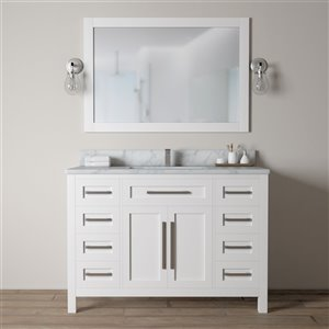 Urban Woodcraft Forest Made 48-in White Single Sink Bathroom Vanity with White Quartz Top (Mirror Included)