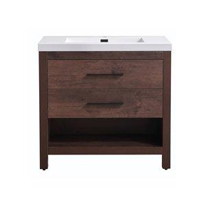 Meuble-lavabo à 2 tiroirs avec pattes ajustables Nelly de Akuaplus, bois de rose