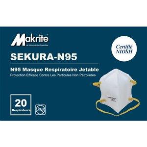 Masque de sécurité tout usage à usage unique de taille moyenne/grande Sekura-N95 de Makrite, paquet de 20