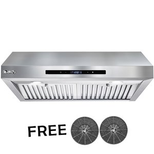 AKDY Ducted 30-in Stainless Steel Undercabinet Range Hood With Charcoal Filter Included