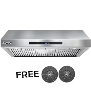 AKDY 36-in Ducted Stainless Steel Undercabinet Range Hood - Charcoal Filter Included