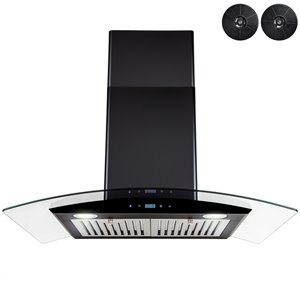 AKDY 30-in Painted Black Convertible Wall-Mounted Range Hood With Charcoal Filter Included