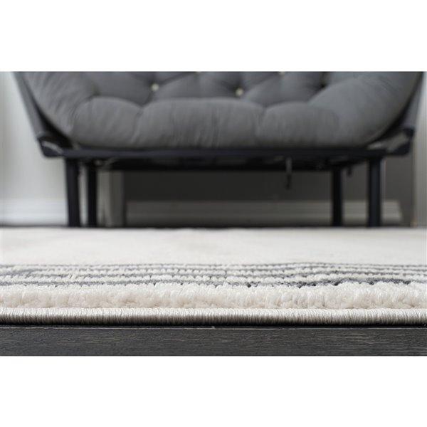 Tapis design moderne à bretelles de LaDole Rugs, 9 pi x 12 pi, gris clair