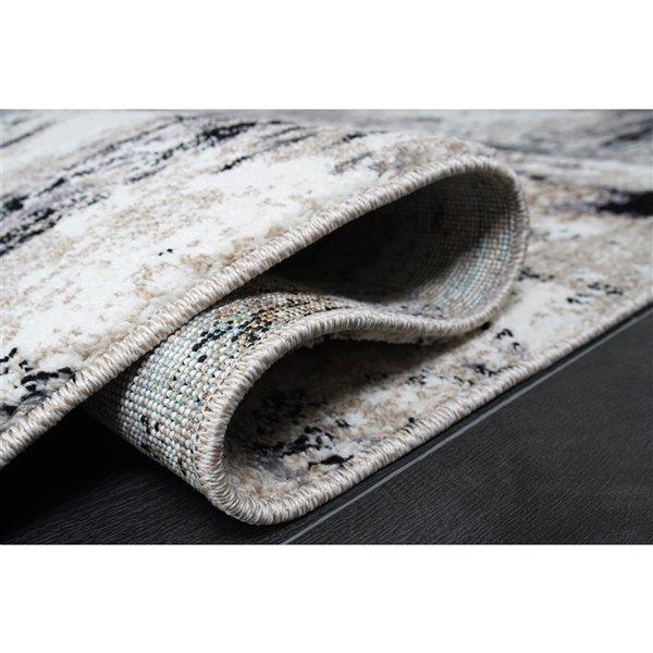 Tapis design rustique moderne de LaDole Rugs, 6 pi x 9 pi, noir/gris