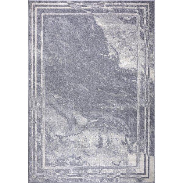 Tapis moderne marbre Logan de LaDole Rugs, 8 pi x 10 pi, gris