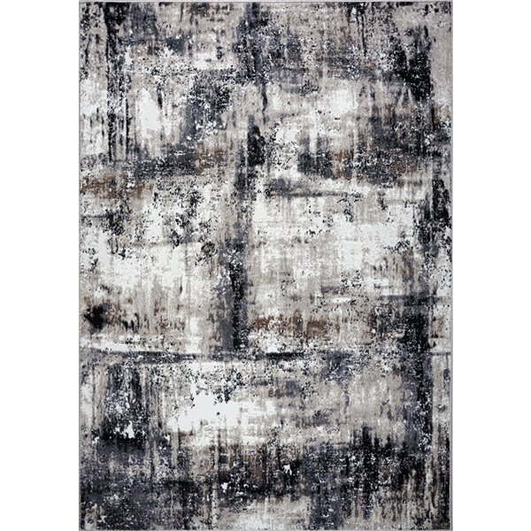 Tapis design rustique moderne de LaDole Rugs, 4 pi x 5 pi, noir/gris