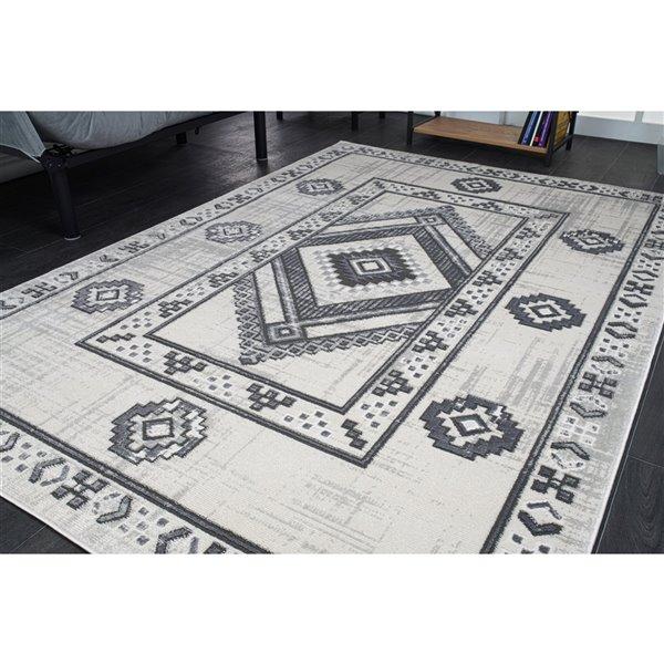 Tapis à bordure géométrique moderne de LaDole, 4 pi x 5 pi, gris clair