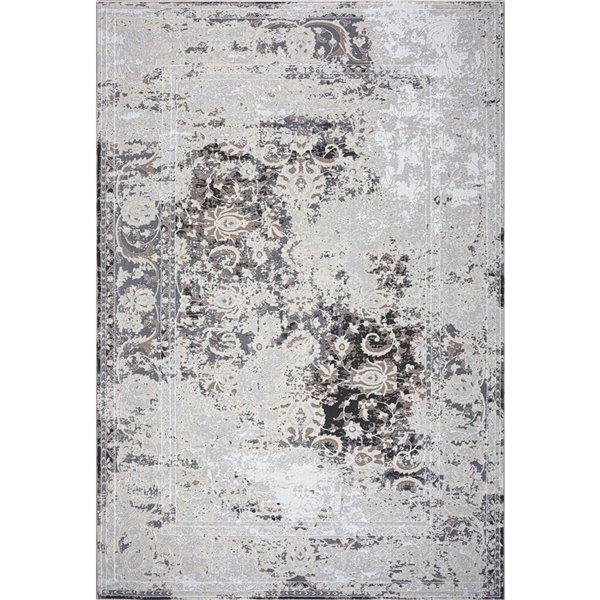 Tapis persan moderne rustique de LaDole, 4 pi x 5 pi, brun/ivoire