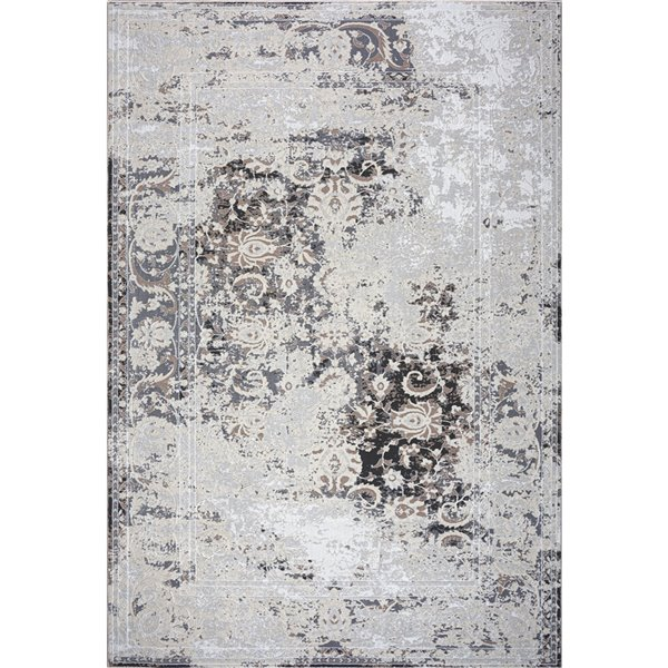 Tapis persan moderne rustique de LaDole, 8 pi x 10 pi, brun/ivoire
