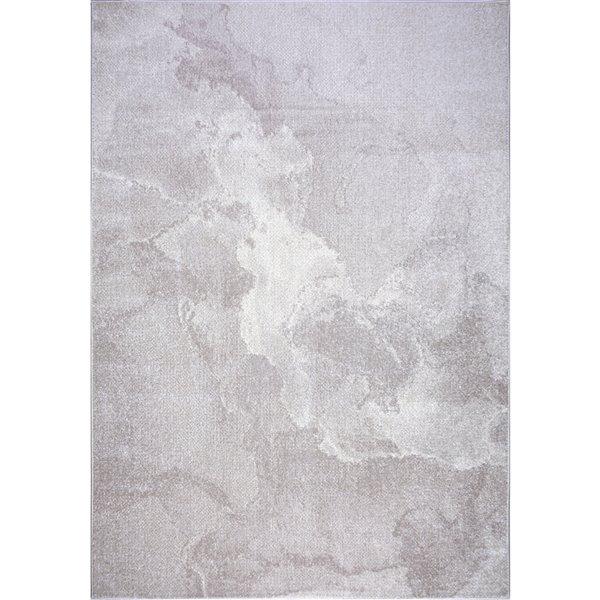Tapis moderne marbre Logan de LaDole Rugs, 8 pi x 10 pi, crème/beige