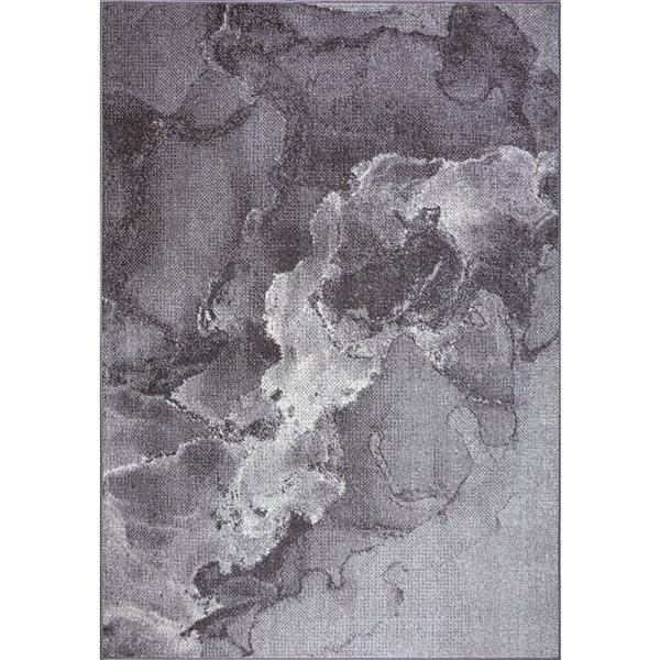 Tapis moderne marbre Logan de LaDole Rugs, 5 pi x 7 pi, gris foncé
