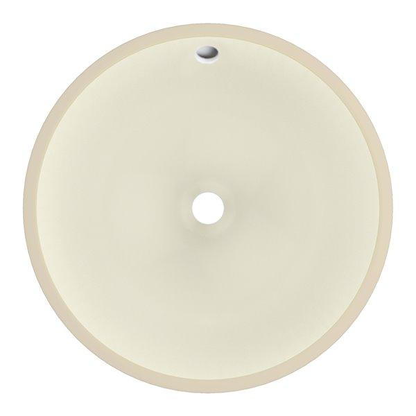 Lavabo sous plan rond de 16 po x 16 po en céramique biscuit avec robinet en nickel brossé classique par American Imaginations
