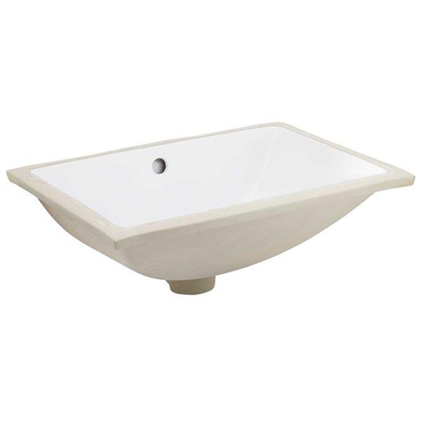 Lavabo rectangulaire de 13,5 po x 18,25 po en céramique blanche avec robinet moderne à 2 poignées par American Imaginations