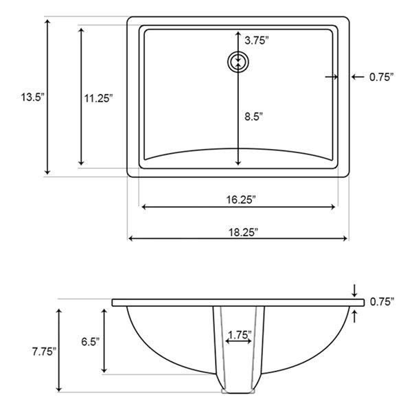 Lavabo sous plan rectangulaire de 13,5 po x 18,25 po en céramique blanche avec robinet à levier par American Imaginations