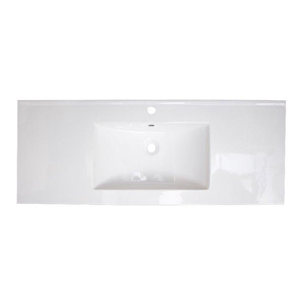 Comptoir à lavabo simple en argile réfractaire blanc lustré de 48,75 po avec robinet à levier en chrome d'American Imaginati