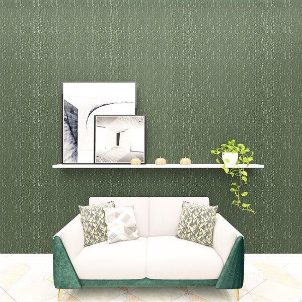 Tissu mural  non tissé et non encollé Classic Madison de Be Shine, motif uni vert, 100 pi²