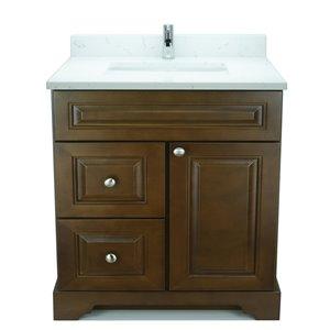 Vanité de salle de bain avec lavabo rectangulaire Royalwood de 36 po Bold Damian de Lukx avec surface en quartz couleur Carrera
