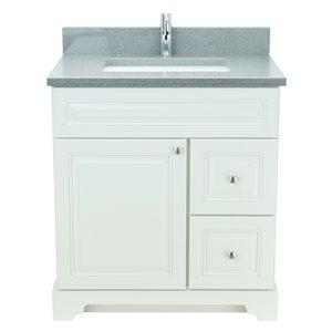 Vanité de salle de bain avec lavabo rectangulaire blanc antique de 36 po Bold Damian de Lukx avec surface en quartz gris crista