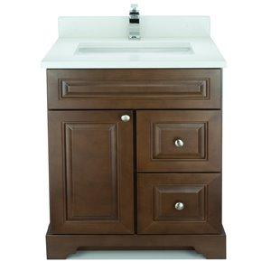Vanité de salle de bain avec lavabo simple Royalwood de 36 po Bold Damian de Lukx avec surface en quartz blanc satiné