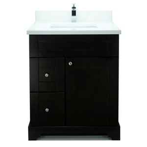 Lukx Bold Damian 24-in Espresso Single Rectangular Sink Bathroom Vanity With Classic Calcutta Quartz Top