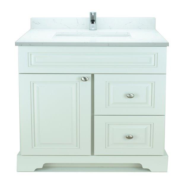 Vanité de salle de bain avec lavabo simple blanc antique de 36 po Bold Damian de Lukx avec surface en quartz couleur Carrera