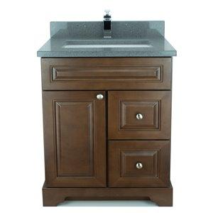 Vanité de salle de bain avec lavabo rectangulaire Royalwood de 36 po Bold Damian de Lukx avec surface en quartz gris cristal