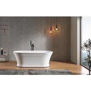 Lukx Splash Katharine 67-in W x 32-in L White Acrylic Hourglass Center Drain Freestanding Bathtub