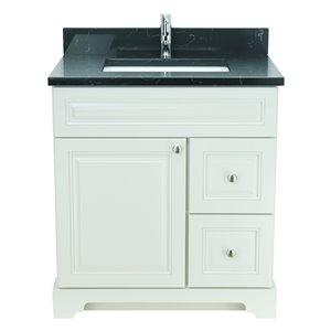 Lukx Bold Damian 36-in Antique White Single Rectangular Sink Bathroom Vanity With Moonlight Black Quartz Top