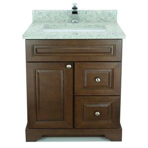 Vanité de salle de bain avec lavabo simple Royalwood de 36 po Bold Damian de Lukx avec surface en quartz topaze