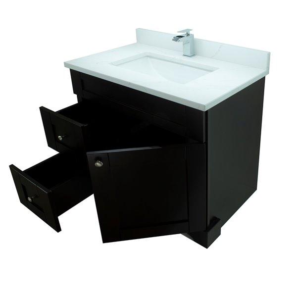 Vanité de salle de bain avec lavabo rectangulaire expresso de 36 po Bold Damian de Lukx avec surface Calcutta classique