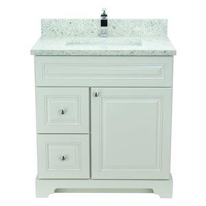 Vanité de salle de bain avec lavabo simple blanc antique de 36 po Bold Damian de Lukx avec surface en quartz topaze