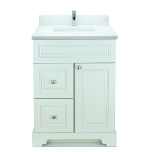 Lukx Bold Damian 24-in Antique White Single Rectangular Sink Bathroom Vanity With Carrera Quartz Top