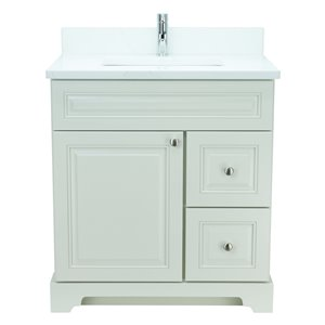 Lukx Bold Damian 24-in Antique White Single Sink Bathroom Vanity With Classic Calcutta Quartz Top