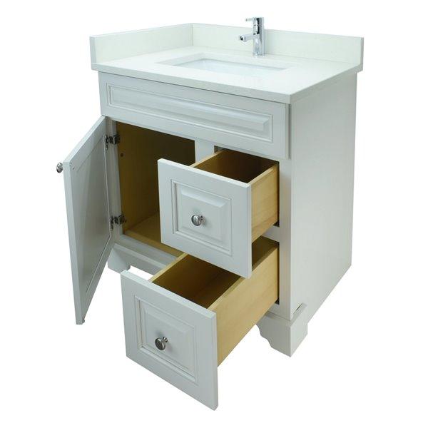 Vanité de salle de bain avec lavabo rectangulaire blanc antique de 36 po Bold Damian de Lukx avec surface en quartz blanc satin