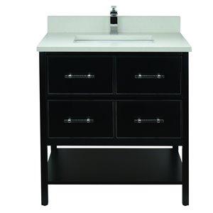Lukx Bold Gemma 30-in Black Single Sink Bathroom Vanity With Silk White Quartz Top