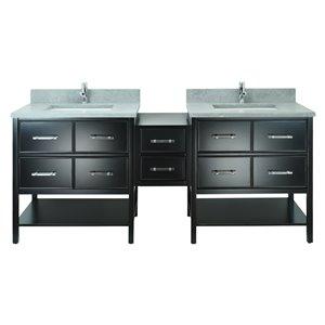 Lukx Bold Gemma 74-in Black Double Sink Bathroom Vanity With Concrete Leather Quartz Top