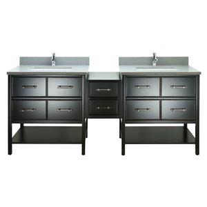 Lukx Bold Gemma 74-in Black Double Sink Bathroom Vanity With Crystal Grey Quartz Top