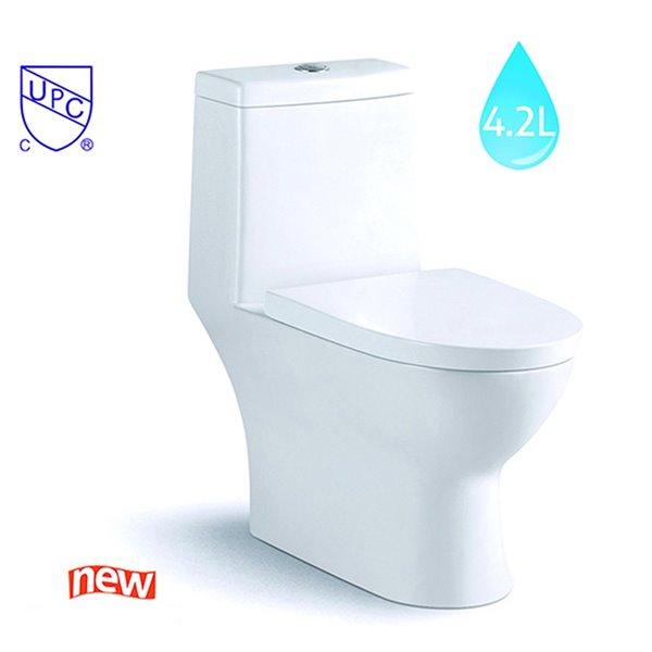 Toilette monopièce blanche lustrée à chasse simple au siège allongé et à hauteur de chaise certifié Watersense Splash de