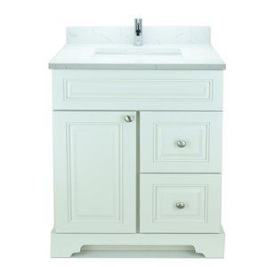 Vanité de salle de bain avec lavabo simple blanc antique de 30 po Bold Damian de Lukx avec surface en quartz couleur Carrera