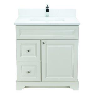 Vanité de salle de bain avec lavabo blanc antique de 36 po Bold Damian de Lukx avec surface en quartz couleur Calcutta classiqu