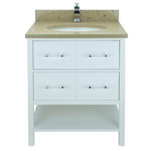 Lukx Bold Gemma 30-in White Single Sink Bathroom Vanity With Royal Brown Quartz Top