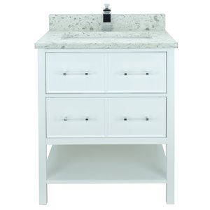 Lukx Bold Gemma 30-in White Single Sink Bathroom Vanity With Milky Way Quartz Top