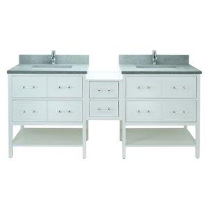 Lukx Bold Gemma 62-in White Double Sink Bathroom Vanity With Concrete Leather Quartz Top