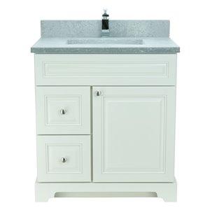 Vanité de salle de bain avec lavabo blanc antique de 30 po Bold Damian de Lukx avec surface en quartz couleur béton de cuir